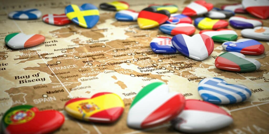 Map of Europe and hearts with flags of european countries